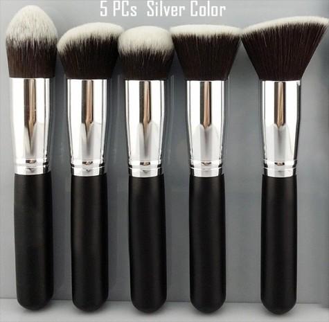 Sada 5 kosmetických štětců Make-Up STŘÍBRNÁ+ČERNÁ