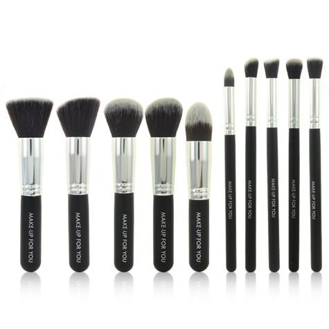 Sada 10 kosmetických štětců Make-Up STŘÍBRNÁ+ČERNÁ