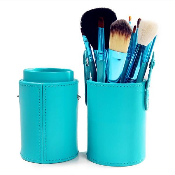 Profesionální sada 12 kosmetických štětců Make-Up s koženým pouzdrem - modrozelená