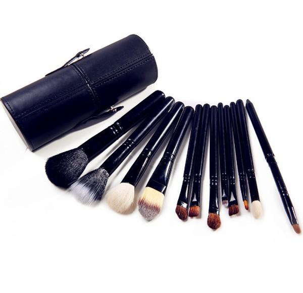 Profesionální sada 12 kosmetických štětců Make-Up s koženým pouzdrem - černá