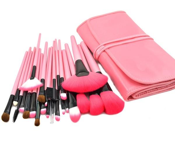 Profesionální sada 24 kosmetických štětců Make-Up s růžovou kabelkou